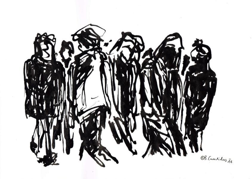 Bjoern Candidus - MENSCHEN AN EINEM SAMSTAG IM WINTER / Tusche auf Papier / 21,0 x 29,7 cm / 2016