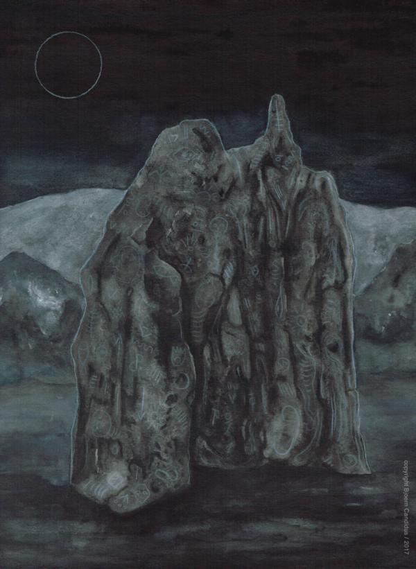 ZEICHEN IM MONDLICHT / Aquarell auf Papier / 40 x 30 cm / 2017