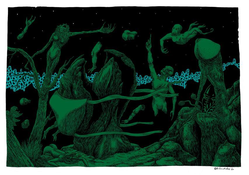 Bjoern Candidus  DER GARTEN IN AUFRUHR (Colorierte Version) Zeichnung, digital bearbeitet 2020