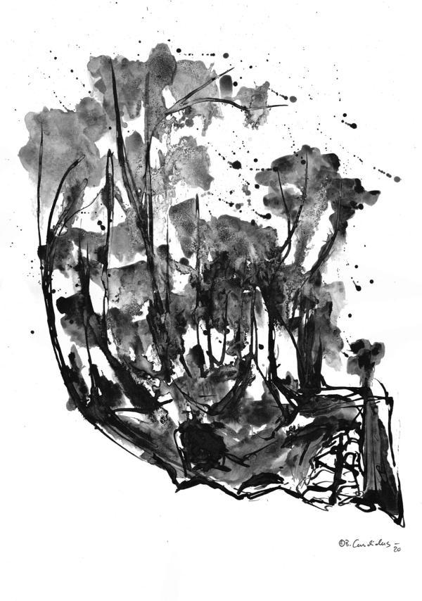 Bjoern Candidus DER TOD IM WALD  Tusche und Aquarell auf Papier   40 x 30 cm  2020