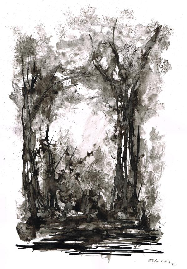 Bjoern Candidus SPAZIERGANG Tusche und Aquarell auf Papier  40 x 30 cm  2020