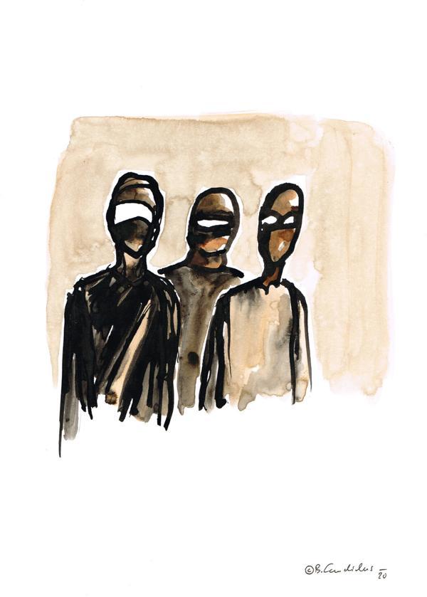 Bjoern Candidus BOTEN Tusche auf Papier  21,0 x 29,7  2020