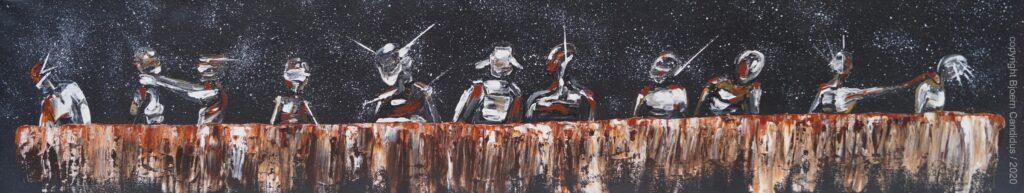 Bjoern Candidus  EXTRAMUNDAN - DAS VORLETZTE ABENDMAHL  Acryl auf Leinwand  20 x 100 cm 2020