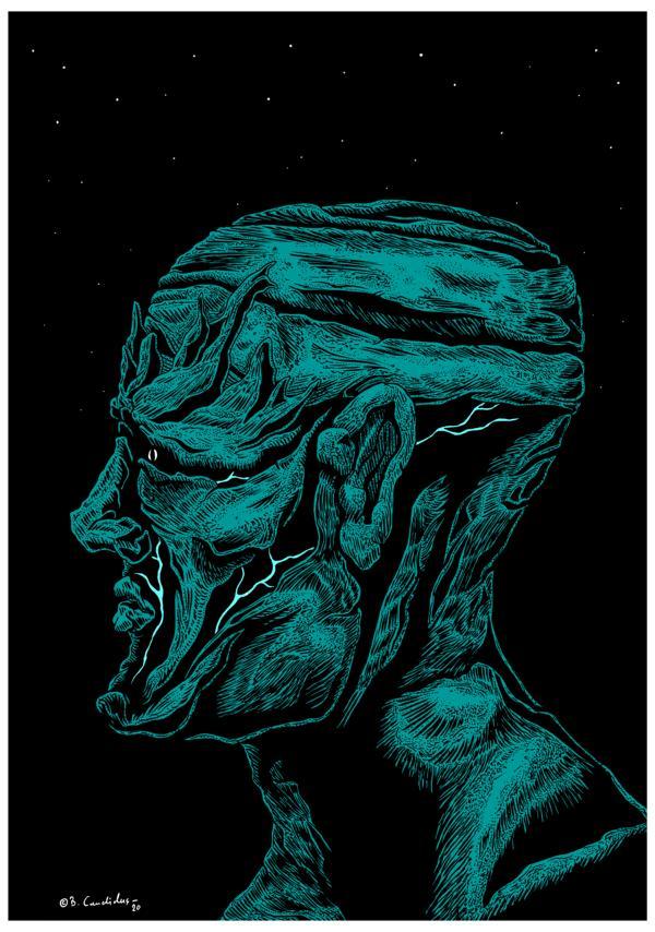 Bjoern Candidus  KHRON (Colorierte Version) Zeichnung, digital bearbeitet 2020