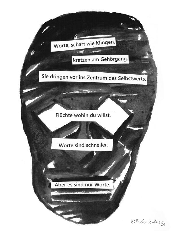 Bjoern Candidus - NUR WORTE / Collage / 32 x 24 cm / 2021