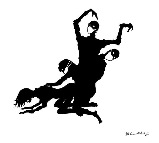 Bjoern Candidus - GANG RAPE (ABER IMMERHIN MIT SCHUTZMASKE) / Zeichnung / 2021