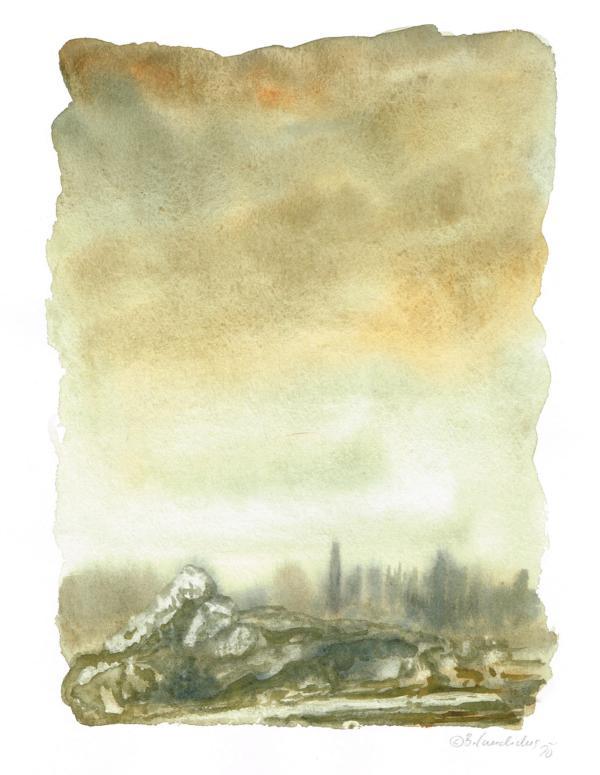 Bjoern Candidus LANDSCHAFT VON MYRANA 3 / Aquarell auf Papier / 32 x 24 cm / 2020